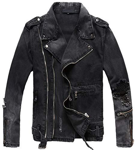 chouyatou Men's Distressed Double-Zip Belted Ripped Biker Denim Jean Jacket (Medium, Dark Grey)