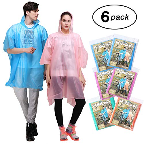 Rain Poncho for Adults - 6 Pack of PEVA Tear Resistant Thick Ponchos for Men or Women with Drawstring on Hood by Viper Gear - Disposable or Reusable Emergency Rain Gear ()