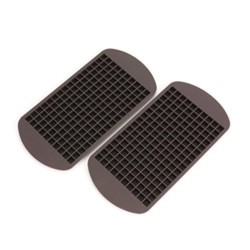 Saiway 2-er Pack Eiswürfel-Form aus flexiblem Silikon für 160 Mini-Eiswürfel, 1x1 cm Eiswürfel Eiswürfelschale, schwarz, 24 x 12 x 1,5 cm