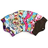 HailiCare 11.8 Inches Bamboo Reusable Sanitary Pads, Pack of 10 - Regular Flow, Washable Menstrual Cloth Sanitary Pads with Bamboo-charcoal Absorbency, Random Color