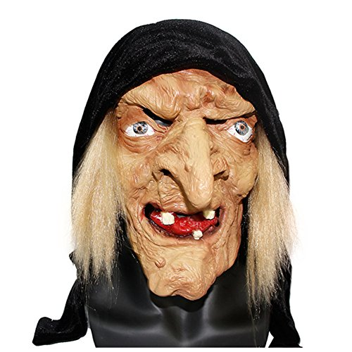 Creepy Scary Halloween Old Witch Mask Latex Snow White Witch with Hair & Hood Halloween Scary Head Horrifying Masquerade Mask (Yellow)]()