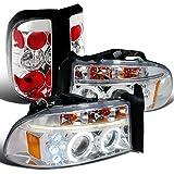 Spec-D Dodge Dakota Pickup Chrome Halo LED projector Head...