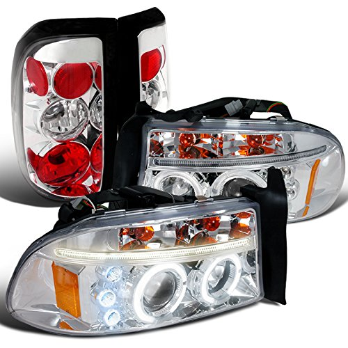 Dodge Dakota Pickup Chrome Halo LED projector Headlights+Tail Brake (Dodge Dakota Pickup Brake)