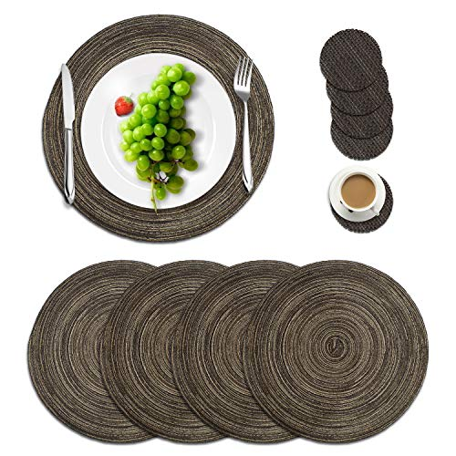 Manzelun Round Placemats Set of 4,Woven Heat Resistant Table Mats with 4 Coasters for Dining Table(13.8