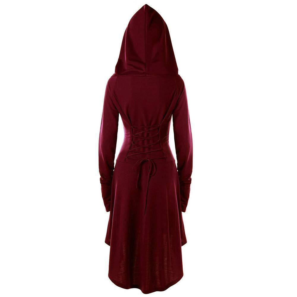 MYMYG Damen Langarm mit Kapuze Mittelalter Kleid bodenlangen Cosplay Dress Age Mittelalter Kleidung Gro/ße Gr/ö/ßen Renaissance Kost/üm Lang Halloween Kost/üm