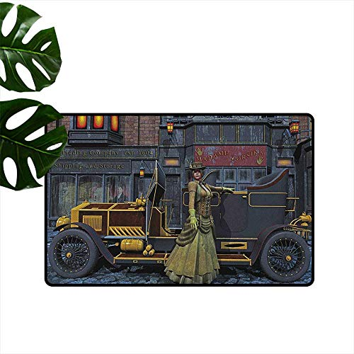 Victorian,Floor Mats Lady Wearing Old Style Dress and Vintage Car in Street Mechanic Industrial Era Print 16