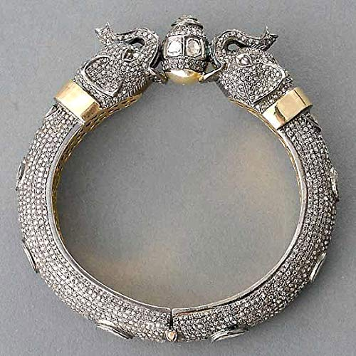 Royal Elephant Mughal style Rose Cut Uncut Slice Diamond Sterling Silver yellow Gold Plated Filigree Hinged Bangle ()