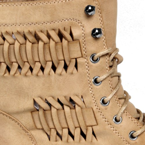 Lace with Boots Classic up CASPAR Boots Pattern Stylish SBO027 up Braid 3 Colours Camel Lace Vintage Womens xXqXHzY4