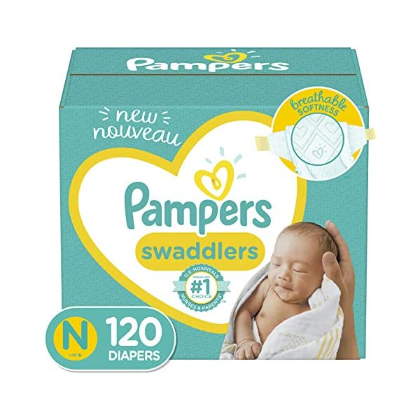 Baby Diapers Newborn/Size 0 (< 10 lb), 120 Count – Pampers Swaddlers, Giant Pack (Packaging May Vary)