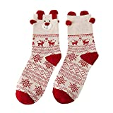 Allywit Christmas Socks Cute 3D Animal Non-Slip Household Floor Socks Winter Slipper for Women (B)