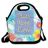 OJM Durable Portable Lunch Tote Bag, Insulated Cooler Picnic Bag For Work, School & Outdoor Travel (faith Hope Love)