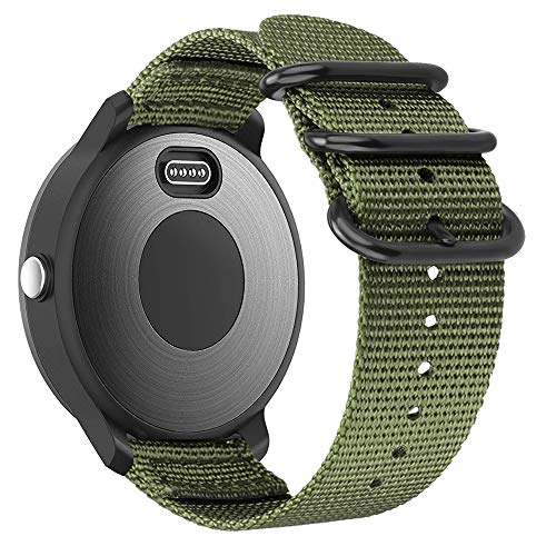 Fintie for Garmin Vivoactive 3, Forerunner 245 Band, 20mm Soft Woven Nylon Replacement Strap with Metal Buckle Compatible Vivoactive 3 Music, Vívomove HR, Forerunner 645 Music Smartwatch, Olive
