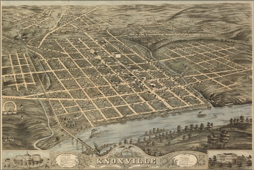 24x36 Poster; Birdseye View Map Of Knoxville, Tennessee 1871; Antique Reprint