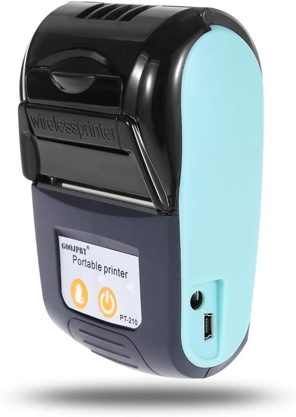 GOOJPRT PT - 210 Portable 58mm Bluetooth Thermal Printer Portable Wireless Handheld Mini Receipt Printer for iOS Android Windows System (Light Blue)