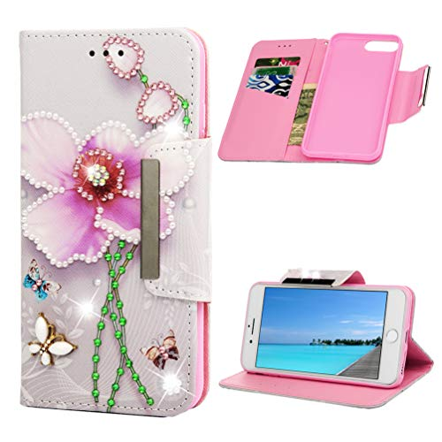 - iPhone 7 Plus Case, Diamonds Wallet Flip Folio Purse Kickstand Card Slots Wrist String Shiny Glitter Jewelry Gems PU Leather Wallet Shock Resistant Soft TPU Bumper Cover for iPhone 8 Plus Pearl Lotus