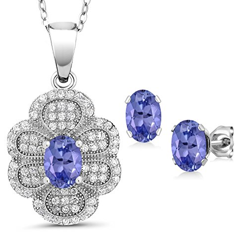 3.17 Ct Oval Blue Tanzanite 925 Sterling Silver Pendant Earrings Set by Gem Stone King