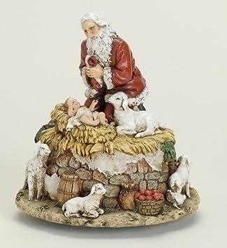 Roman 6 Joseph s Studio Kneeling Santa with Jesus Musical Christmas Figure