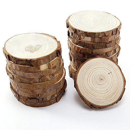 Natural Wood Slices with Tree Bark for Crafts Coasters,3.1-3.5 inch 15pcs by MUPIANLX