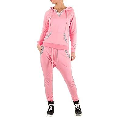 c051d4e9aec85b Schuhcity24 Overall Damen 2 Teiler Hose Sweatshirt Pullover Boyfriend  Jogginganzug Freizeitanzug Fitnessanzug Trainingsanzug Pink S