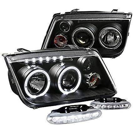 Para Volkswagen Jetta/Bora negro Halo Proyector Faros delanteros w ...