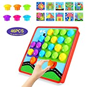 Geekper - Next X Button Art Color Matching Mosaic Pegboard Set Early Learning Educational Toys for Kids Thanksgiving Christmas Birthday Party Gifts