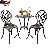 Outdoor Patio Furniture Tulip Design Bistro Set in Antique Copper Cast Aluminum ..(from#_yideashopping; TRYK141311608547656