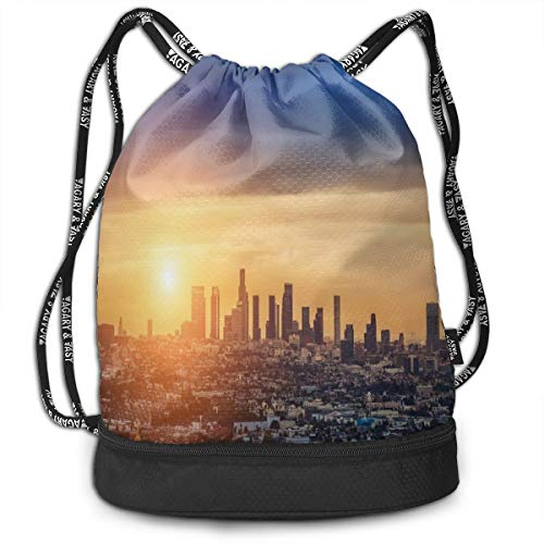 Fashion Gym Gift Printed Drawstring Backpacks Bags,Sunrise At Los Angeles Urban Architecture Tranquil Scenery Majestic Sky,Adjustable String Closure For Men And Women