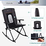 PORTAL Oversized Quad Folding Camping Rocking Chair High Back Hard Armrest Carry Bag Included, Support 300 lbs