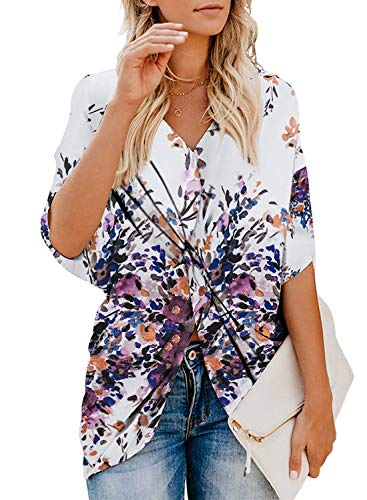 Eitie Women's Summer Floral Print Short Sleeve T Shirts V Neck Chiffon Twist Tops Loose Casual Blouse Shirts (Small, -