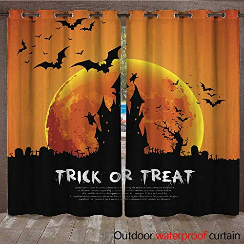 RenteriaDecor Outdoor Ultraviolet Protective Curtains Happy Halloween Card Template Mix of Various Spooky Creatures W108 x L84 ()