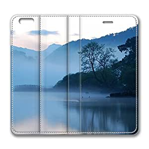 iPhone 6 Leather Case, Personalized Protective Flip Case Cover Early Morning Lake for New iPhone 6