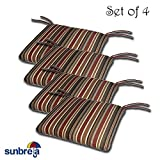 SET OF 4 20W x 19Dx 2.5H Sunbrella Indoor/Outdoor Knife Edge style seat pad cushion in Brannon Redwood by Comfort Classics Inc. Made in USA