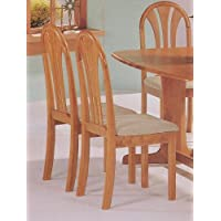 Set of 2 Oak Finish Fan Back Wood Dining Chairs