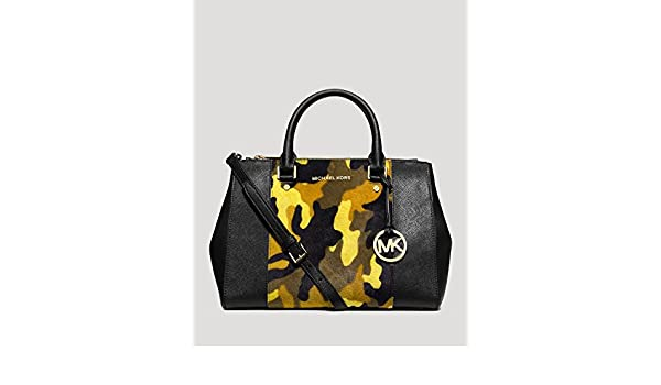 8cfcdb1bc8ac53 Michael Kors Sutton Haircalf Satchel in Camo / Acid Lemon: Handbags:  Amazon.com