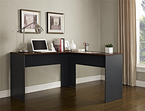 Altra The Works L-Shaped Desk, Cherry/Slate Gray Dorel Home Furnishings
