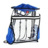 Clear Drawstring Backpack Stadium Security Approved - Durable Transparent Bookbag for School, Music Festivals, Sporting Events, Travel, Gym, Work - with Mesh Side Pockets and Front Zipper