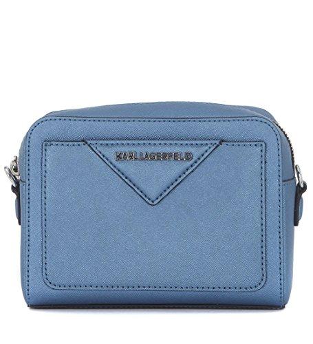 Borsa a tracolla Karl Lagerfeld in pelle saffiano azzurra