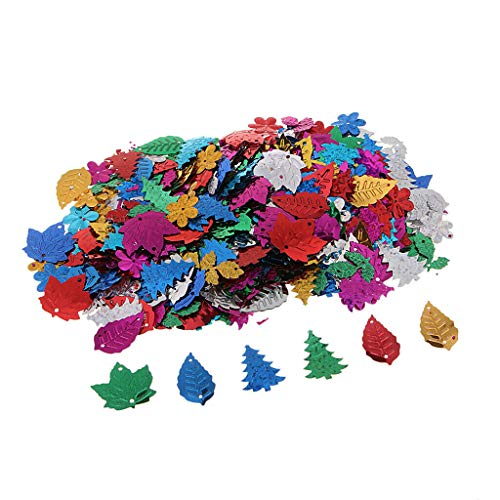(30/50g Mixed Shape Loose Sequins Flat Sewing Trim DIY Crafts Jewelry Making | Color - Flower)