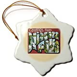 3dRose Greetings from Niagara Falls Scenic Postcard Reproduction - Snowflake Ornament, Porcelain, 3-inch (orn_170366_1)