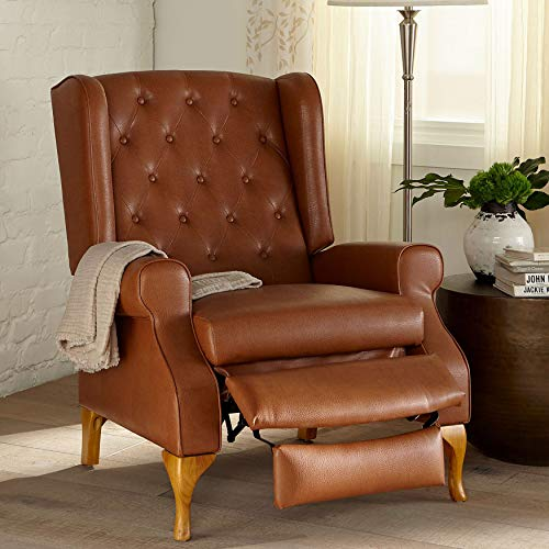 - BrylaneHome Queen Anne Style Tufted Wingback Recliner - Camel