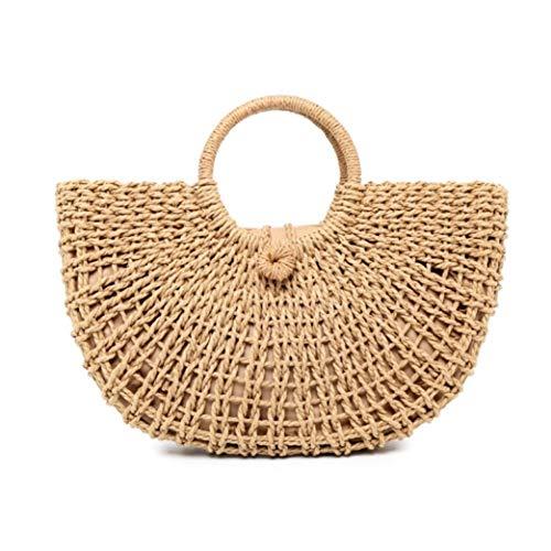 Hand-woven Beach Grass Tote Bag Women Straw Handbag Purse Retro Hollow Woven Bag