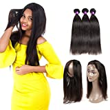 Ossilee Hair Mink Peruvian Hair Straight Pre Plucked 360 Lace Frontal with Bundles 8A Peruvian Straight Hair 360 Lace Frontal Closure with Bundles (12 14 16+12 360frontal, Natural Color) For Sale