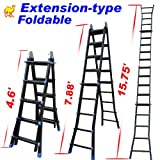 StrongCamel 15.75' Telescoping Extension Aluminum Multi-function Telescopic Ladder EN131