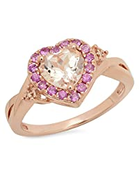 10K Rose Gold Heart Morganite & Round Pink Sapphire & White Diamond Bridal Promise Engagement Ring