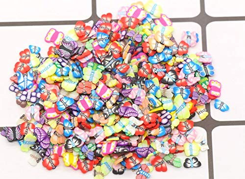 200 Pieces Butterfly Polymer Clay Cane Slices Fimo Butterflies Slices for Slime Charms Supplies and Nail Art