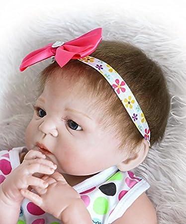 nkol cuerpo de silicona Reborn de realista recién nacido realista bebé muñeca con falda tutú de Peach (magnético boca, impermeable), 22 inch 57 cm ...