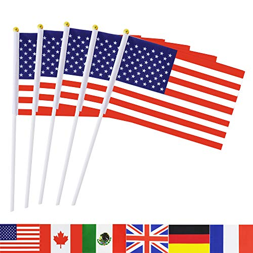 Small American Flag (TSMD USA Stick Flag, 50 Pack Hand Held Small American US Flags On Stick,International World Country Stick Flags Banners,Party Decorations for 4th of July,Sports Clubs,Festival Events Celebration)