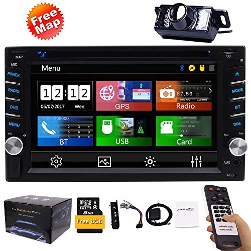 FREE Backup Camera Included + NEW Design Double Din Car Stereo DVD Player GPS Navigation Radio Bluetooth 2 Din Capacitive Touch Screen support USB SD 1080P SWC Car Logo Multi Language Remote Control