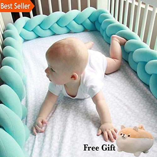100/200CM Newborn Baby Bed Bumper Infant Room Decor Crib Protector Pacification Toy Pure Color Weaving Knot for Kids Bedding (Light Grey - 100m)