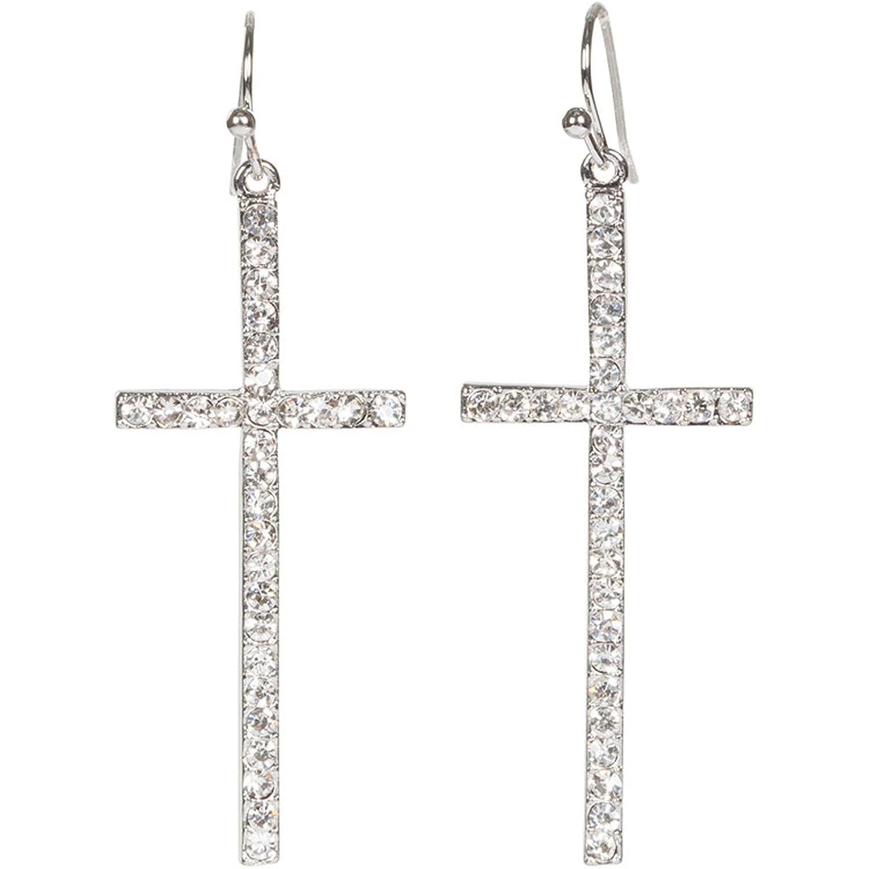 """Heirloom Finds Silver Tone Crystal Cross Dangle Earrings 2"""" Long"""